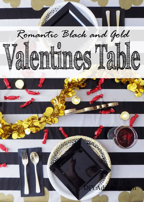 Romantic Black and Gold Valentines Table