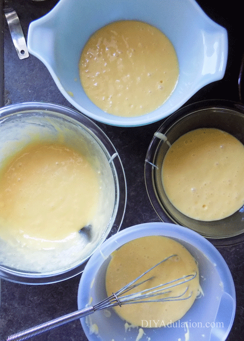 4 Bowls of Cake Batter