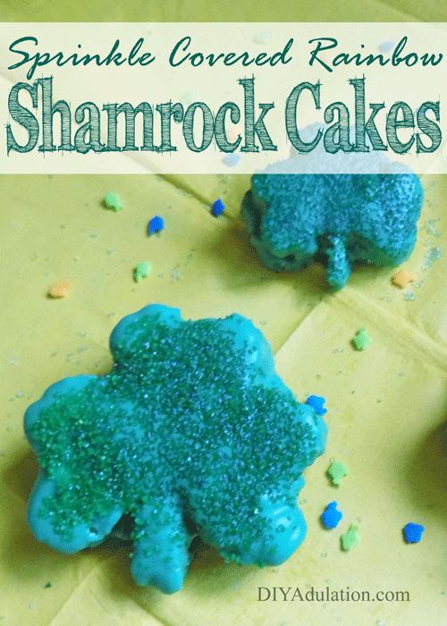 Sprinkled Shamrock Cakes Collage with Text Overlay: Sprinkle Covered Rainbow Shamrock Cakes
