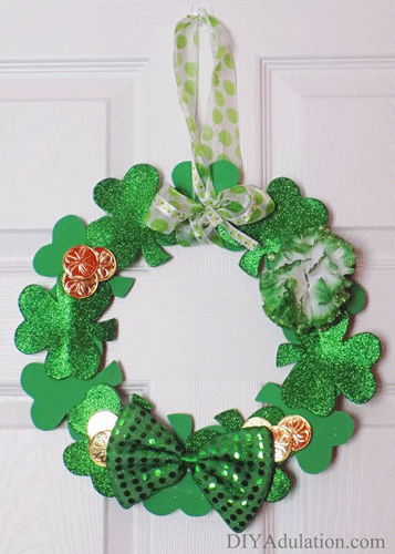 Shamrock Wreath with flowers, gold coins, and a sequined bow