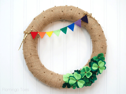 Burlap wreath with shamrocks and a rainbow banner