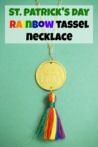 Gold Coin Pendant Necklace with Rainbow tassel and text overlay: St. Patrick's Day Rainbow Tassel Necklace