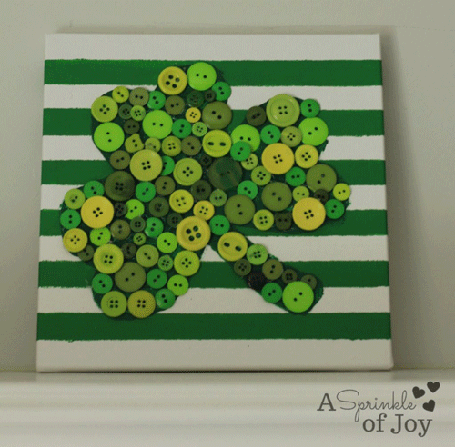 White and green striped canvas with buttons shamrock