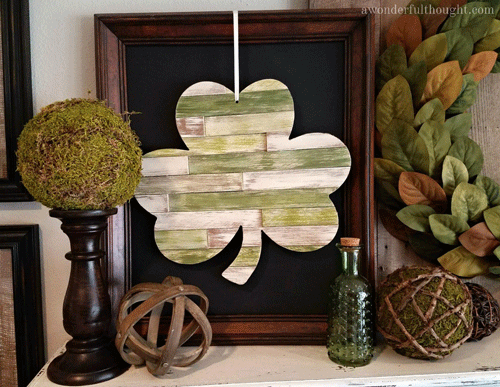 Vignette featuring a multicolored wooden shamrock